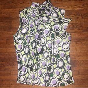 Nine West XL Black White Green Tie Front Blouse